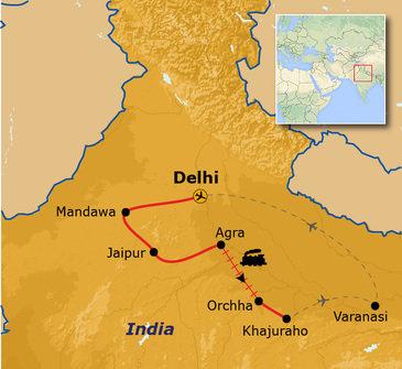 routekaartje Groepsrondreis Noord-India Hoogtepunten