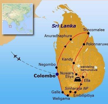 Route Sri Lanka reis, 25 dagen 2017