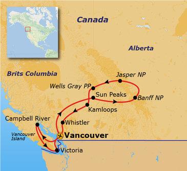Route Canada Hotelreis, 18 dagen