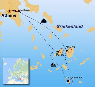 Route 8 daagse wandelvakantie Naxos, Santorini en Paros