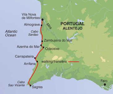 Route 8 daagse wandelvakantie Alentejo en Algarve