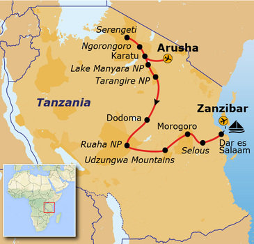 Route Tanzania en Zanzibar Totaal, 24 dagen