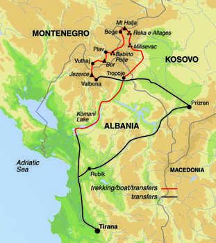 Route 13 daagse wandelvakantie Albanië, Kosovo en Montenegro