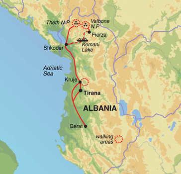 Route 8 daagse wandelvakantie Albanië