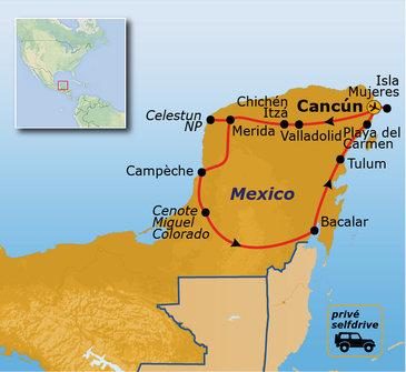 Route familiereis Mexico, 16 dagen