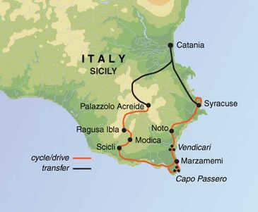 Route 8-daagse fietsvakantie Sicilië