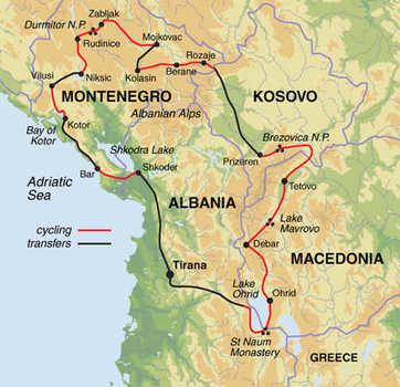 Route 15 daagse fietsvakantie Balkan