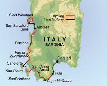 Route 8 daagse fietsvakantie Sardinië
