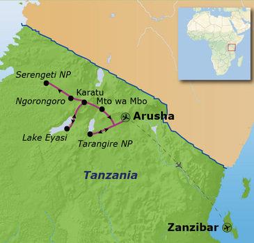 Route Tanzania en Zanzibar, 15 dagen