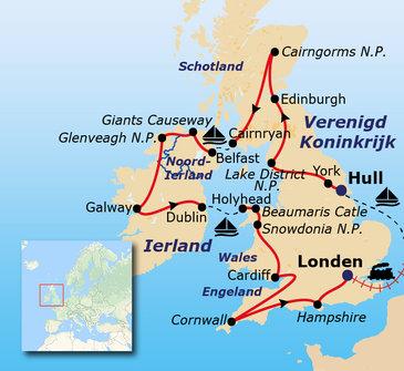 Route Verenigd Koninkrijk & Ierland, 21 dagen