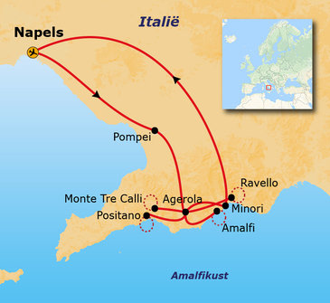 Route 8 daagse wandelvakantie Amalfikust