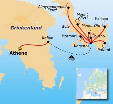 Route 8 daagse wandelvakantie Evia