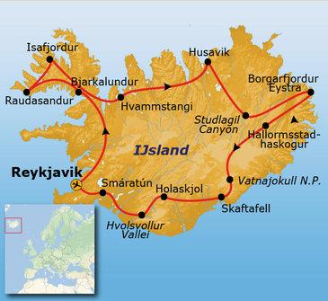 Route IJsland kampeerreis, 15 dagen