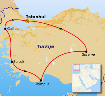 Route van Istanbul naar Istanbul