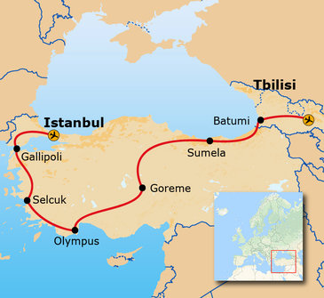 Route van Istanbul naar Tbilisi