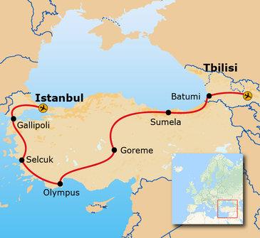 Route van Tbilisi naar Istanbul