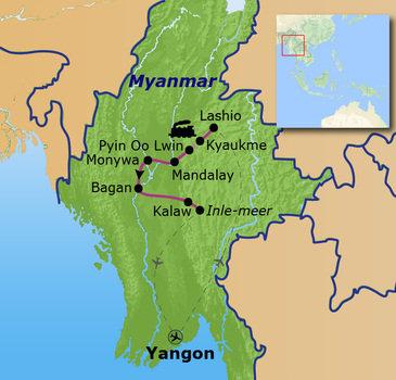 Route Birma/ Myanmar reis, 20 dagen