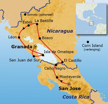 Route Nicaragua en Costa Rica, 21 dagen