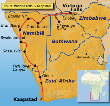 Route Vic Falls-Kaapstad