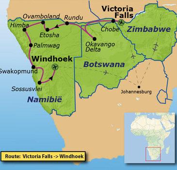 Route Victoria Falls - Windhoek, 22 dagen