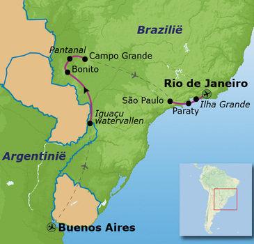 Route van Buenos Aires naar Rio