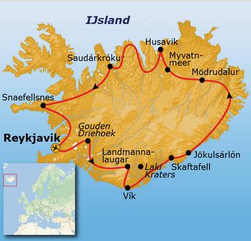 routekaartje Groepsrondreis IJsland