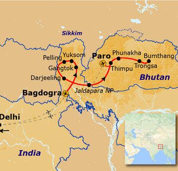 Route Sikkim en Bhutan, 20 dagen