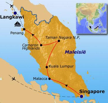 Route Maleisië en Singapore, 16 dagen
