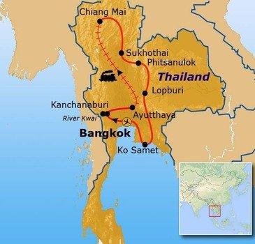 routekaartje Rondreis Thailand Hoogtepunten
