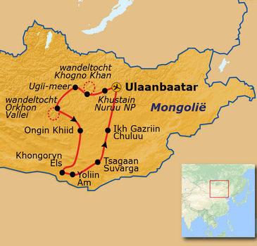 routekaartje Rondreis Mongolië