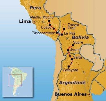 routekaartje Rondreis Argentinië, Bolivia en Peru