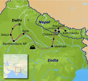 routekaartje Familiereis India en Nepal