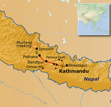 Route Nepal Upper Mustang, 23 dagen