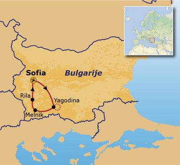 routekaartje Groepsrondreis Bulgarije