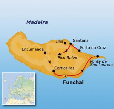 routekaartje Rondreis Madeira