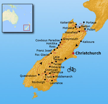 routekaartje Fietsvakantie Nieuw Zeeland