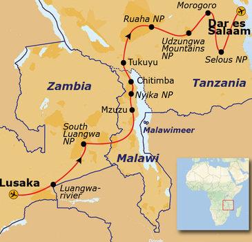 Route Zambia, Malawi en Tanzania, 24 dagen