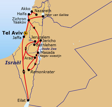 routekaartje Rondreis Israël