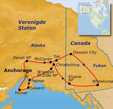 routekaartje Groepsrondreis Alaska en Yukon - Kampeer/hotel reis