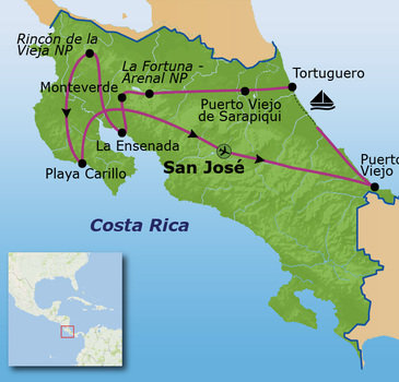 Route Costa Rica, 21 dagen
