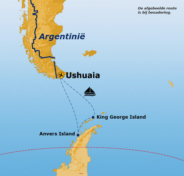 Route rondreis Antarctica 16 dagen