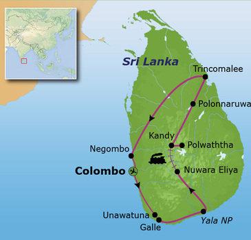 Route Sri Lanka reis, 20 dagen