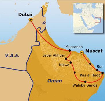 routekaartje Groepsrondreis Oman en Dubai