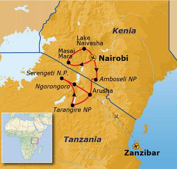 Route Kenia, Tanzania en Zanzibar, 18 dagen