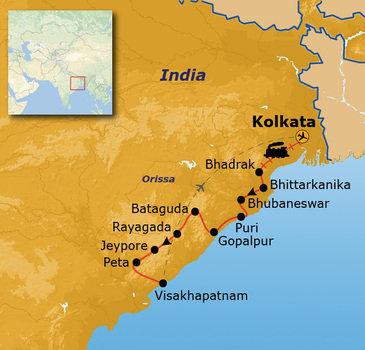 routekaartje Rondreis India - Orissa