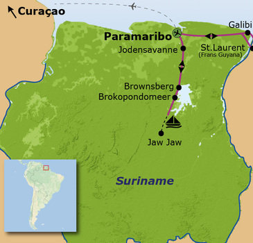 routekaartje Familiereis Suriname en Curaçao