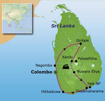 Route Sri Lanka reis, 16 dagen, 2017
