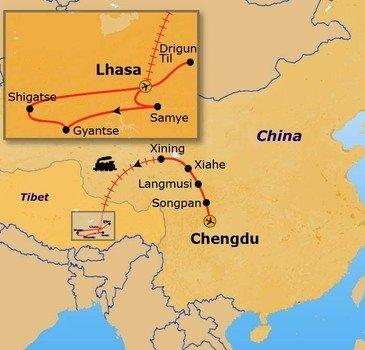 routekaartje Rondreis China en Tibet