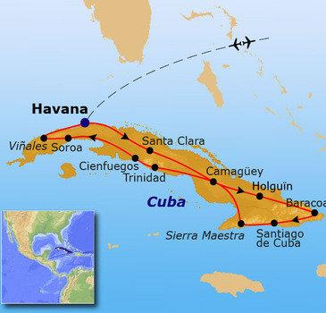 Reisroute Cuba 2016 21 dagen