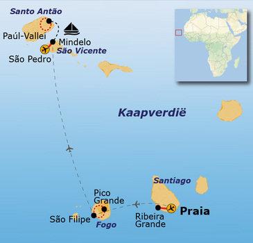 routekaartje Rondreis Kaapverdische Eilanden